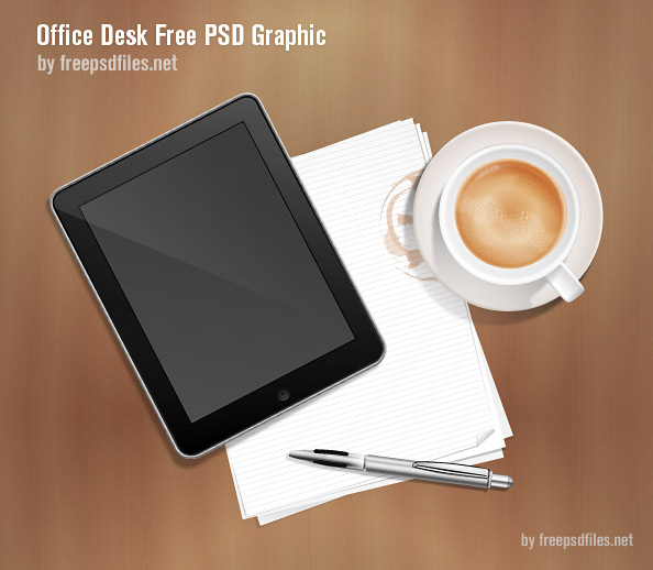 Office Desk Free PSD Graphic Preview Big