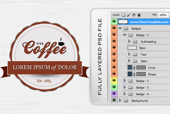 Fully Layered Badge PSD Template