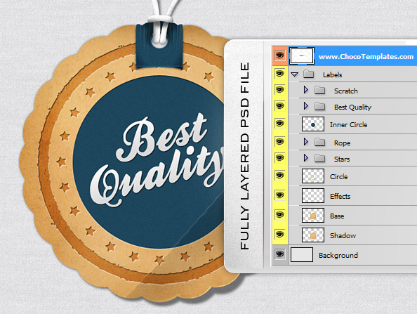 Fully Layered Label PSD Template