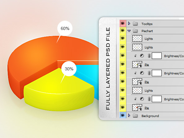Fully Layered Pie Chart PSD Template