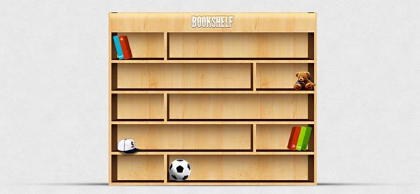 Bookshelf PSD Illustration