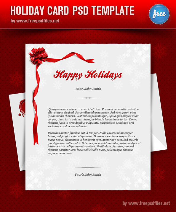 Holiday Card PSD Template Preview Full