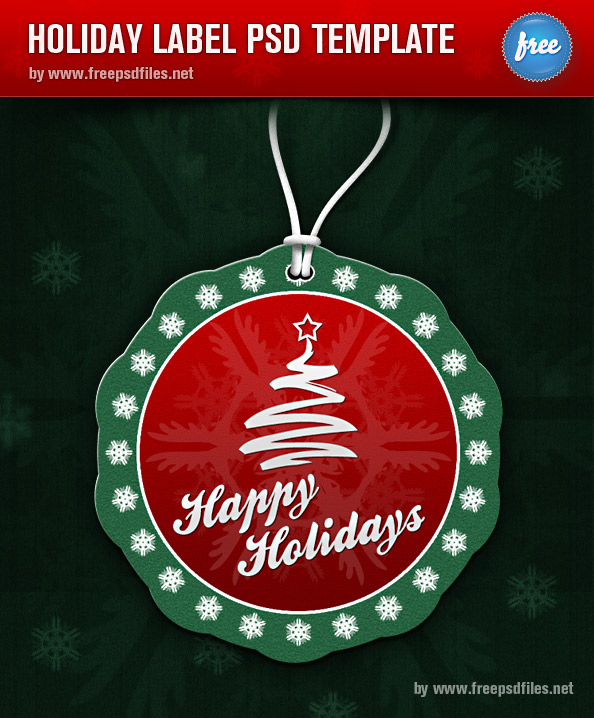 Label PSD Template for Holiday Greetings Preview Big