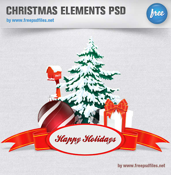 Christmas Elements PSD Preview