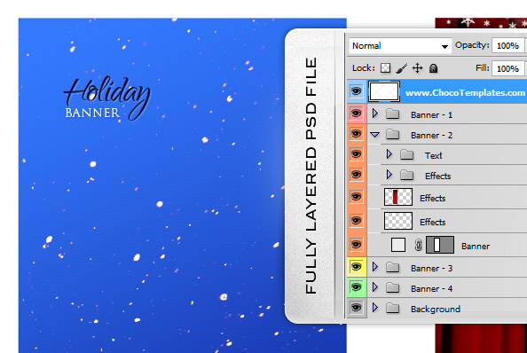 Fully Layered Christmas Banner PSD