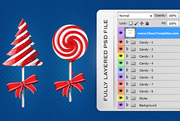 Fully Layered Christmas Candy PSD Graphics