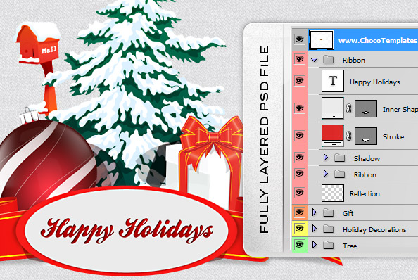 Fully Layered Christmas Elements PSD