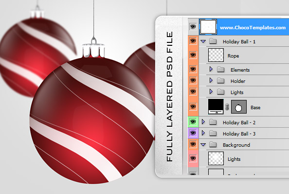 Fully Layered Holiday Decorations PSD Graphics