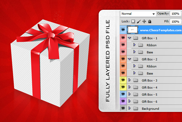 Fully Layered Holiday PSD Gift Boxes