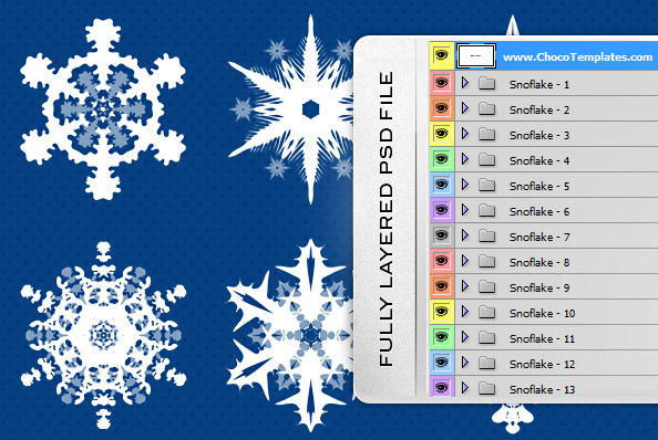 Fully Layered Snowflakes PSD Set