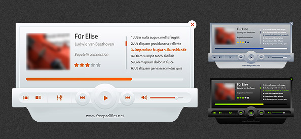 Music Player PSD Mockup