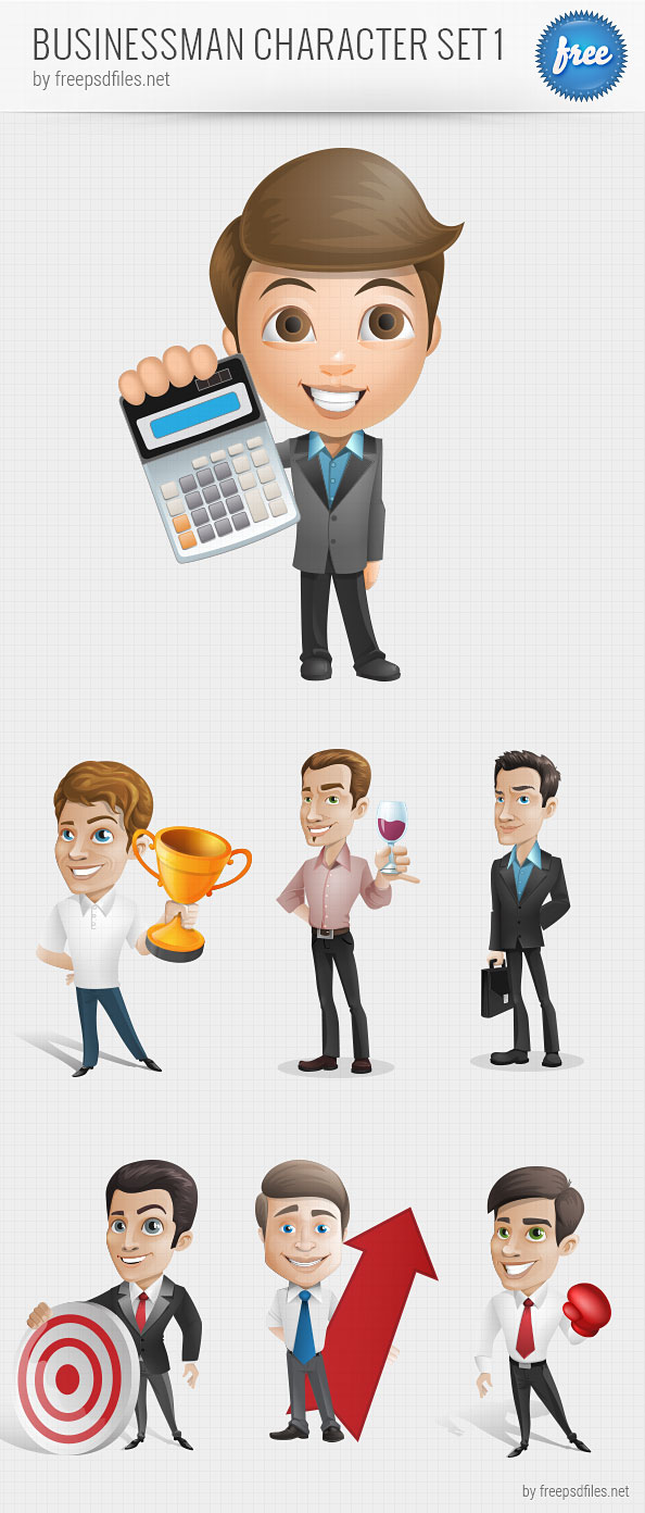 Businessman Vector Character Set 1 Preview