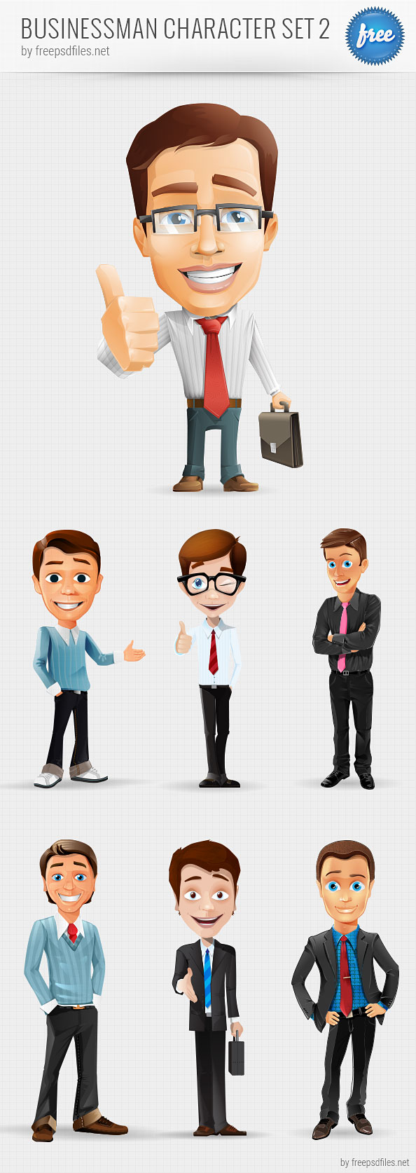 Businessman Vector Character Set 2 Preview