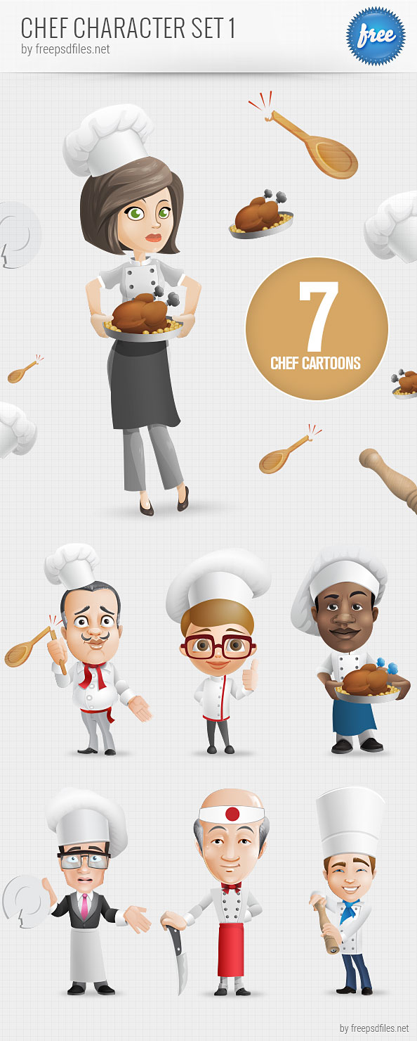 Chef Vector Character Set 1 Free Psd Files