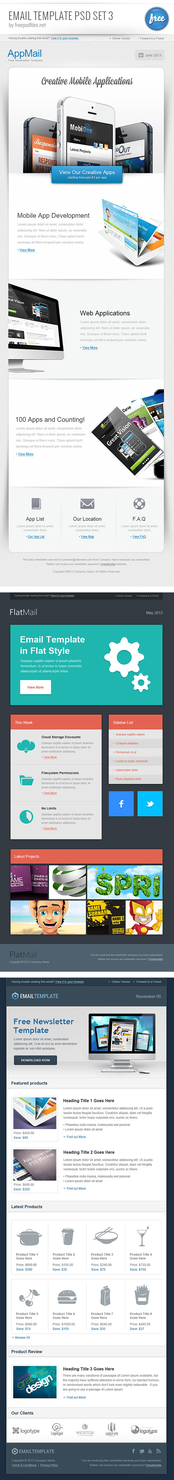 Email Template Psd Set   Free Psd Files
