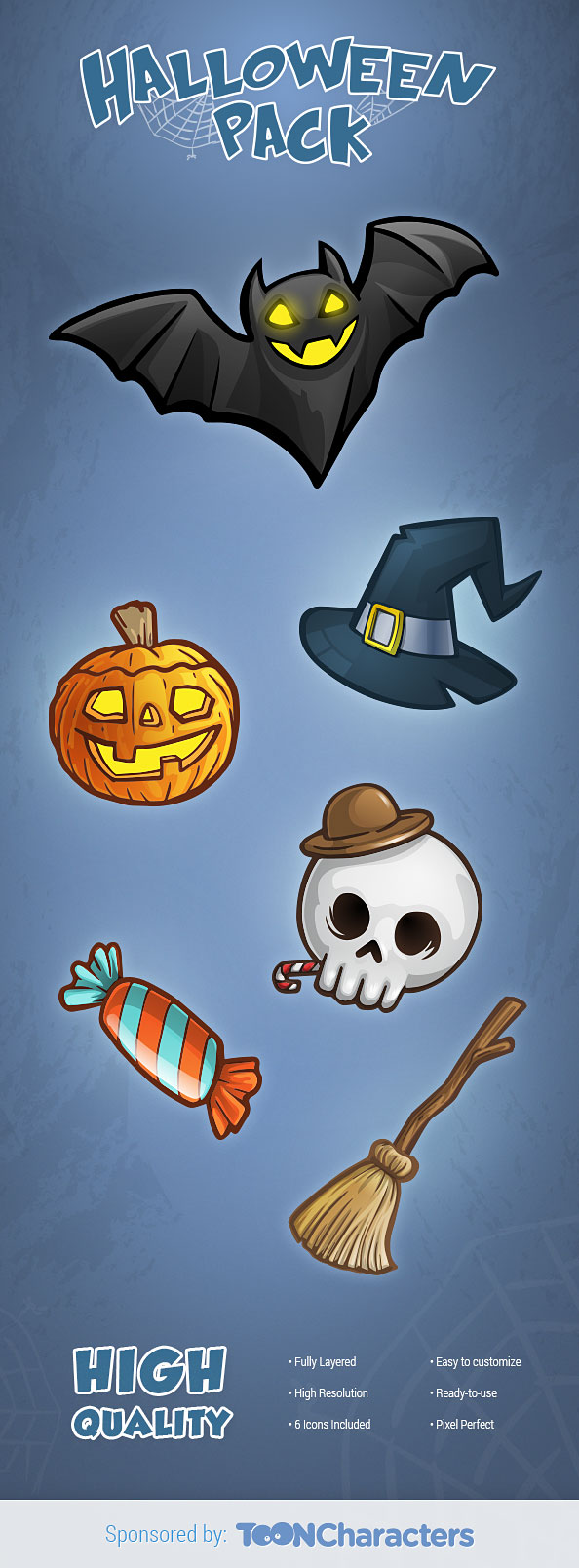 PSD Halloween icons Set
