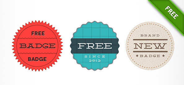 3 Retro Badge PSD Templates