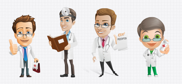 Male Doctor Vector Character Set - Free PSD Files
