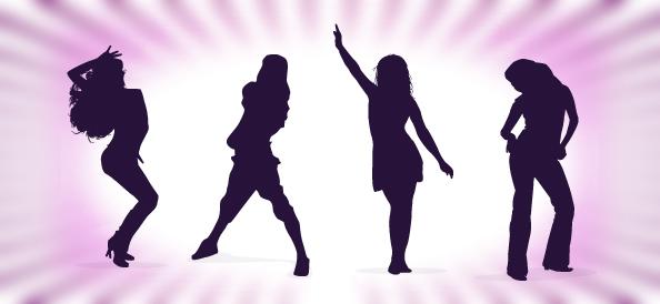Dancing Girls Silhouettes Set 1