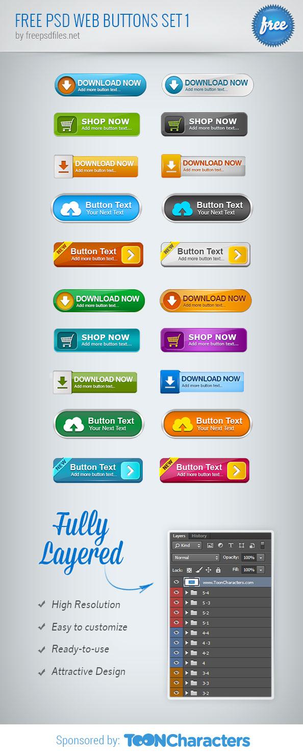 Free PSD Web Buttons Set 1