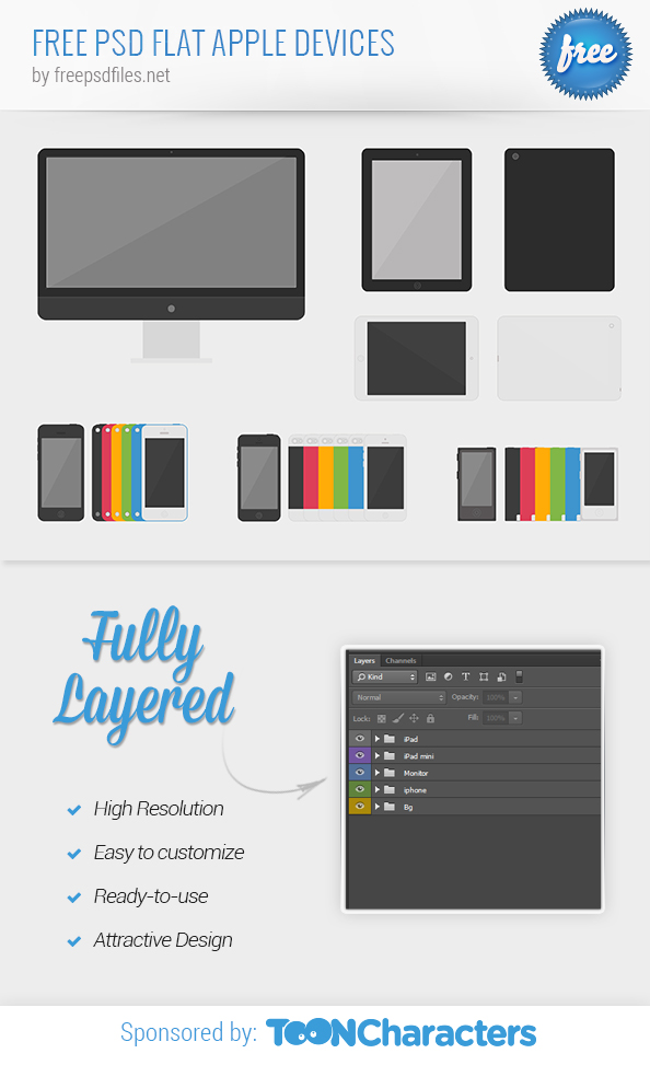 FREE PSD Flat Apple Devices