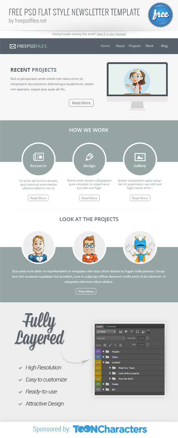 FREE PSD Flat Style Newsletter Template