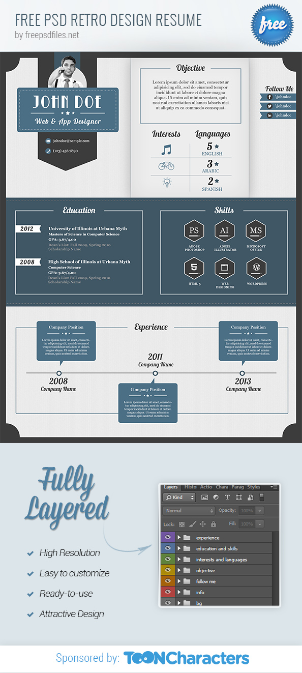 Free PSD Retro Design Resume
