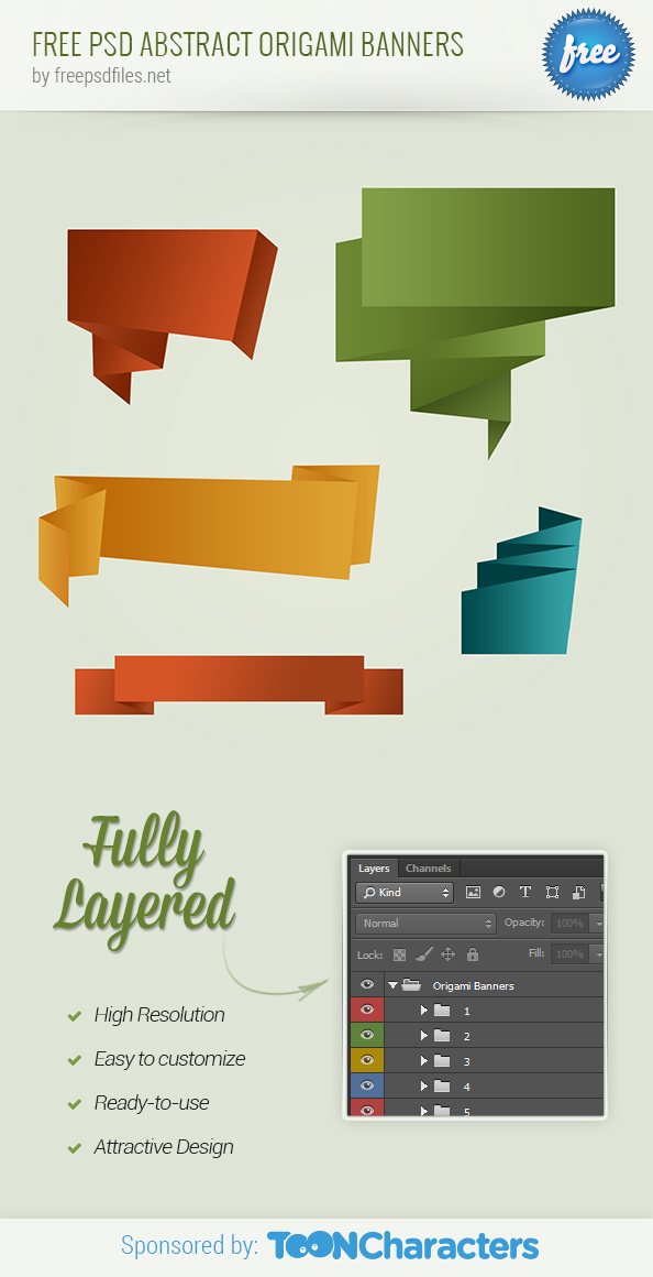 FREE PSD abstract origami banners