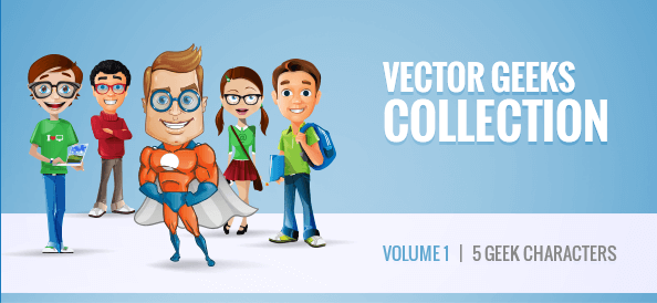 Free Vector Geek Characters Collection: Vol. 1