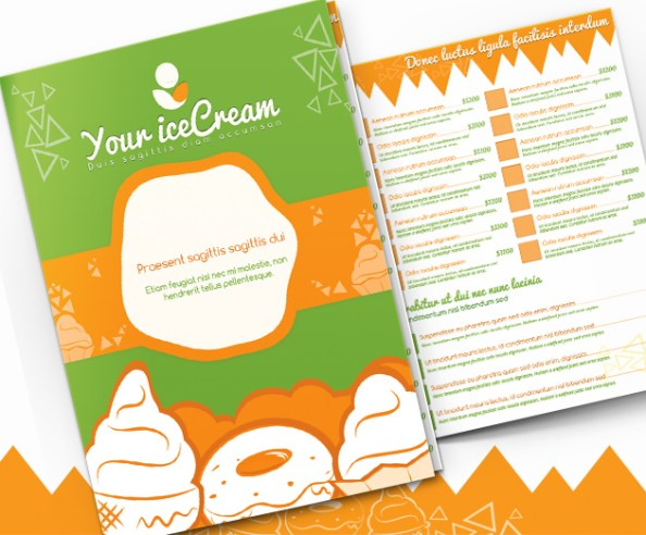 ice cream menu template