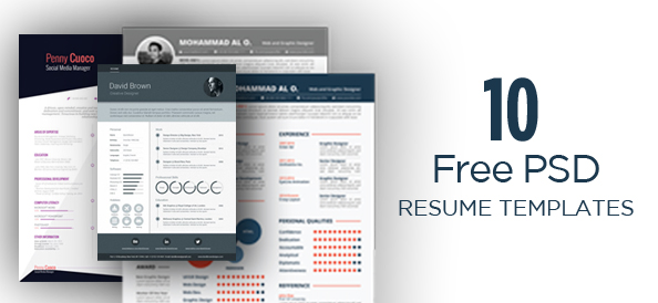 10 Free PSD Resume Template Designs to Impress with