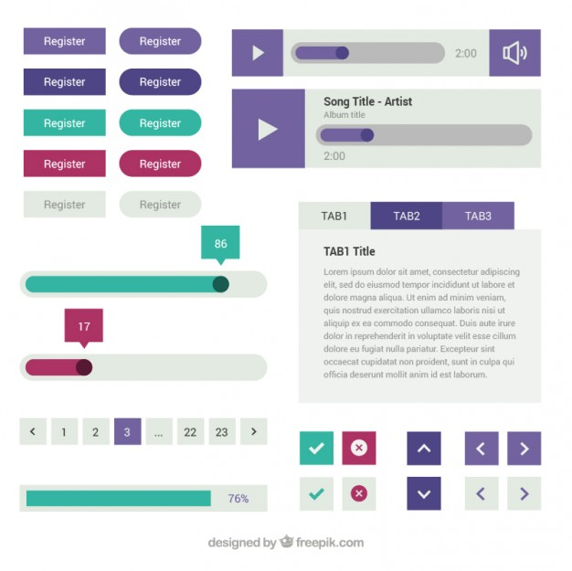 variety-of-web-elements-in-flat-design