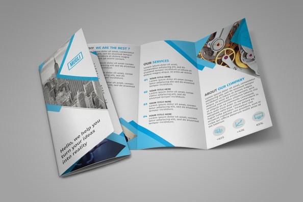 tri-fold geometric brochure