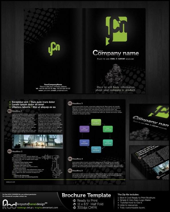 dark brochure template bi-fold