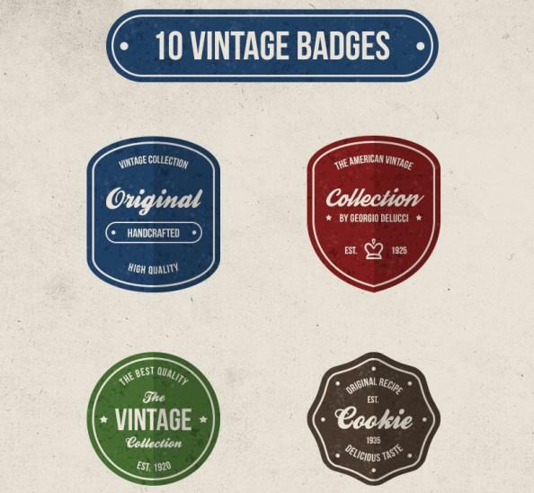 free psd vintage badges