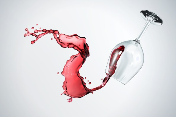 spilled glass of wine 3d background