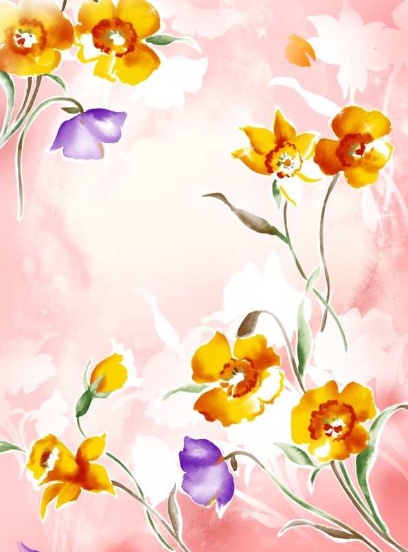 floral watercolor background psd