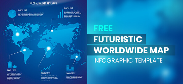 Free Futuristic Worldwide Map Infographic Template