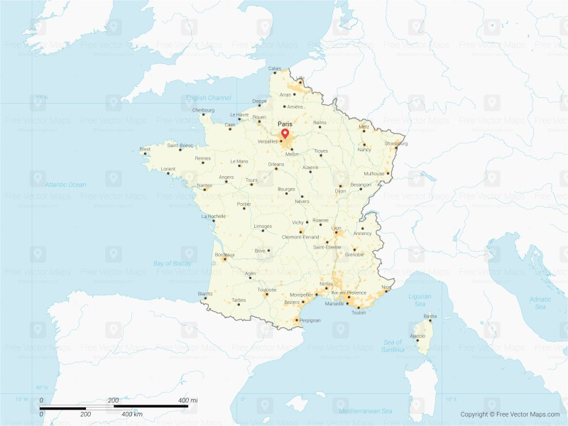 Vector Map of France with Regions   Free Vector Maps Map of France with Regions