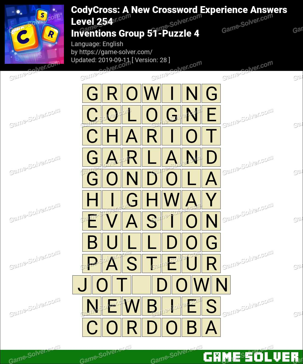 CodyCross Inventions Group 51-Puzzle 4 Answers