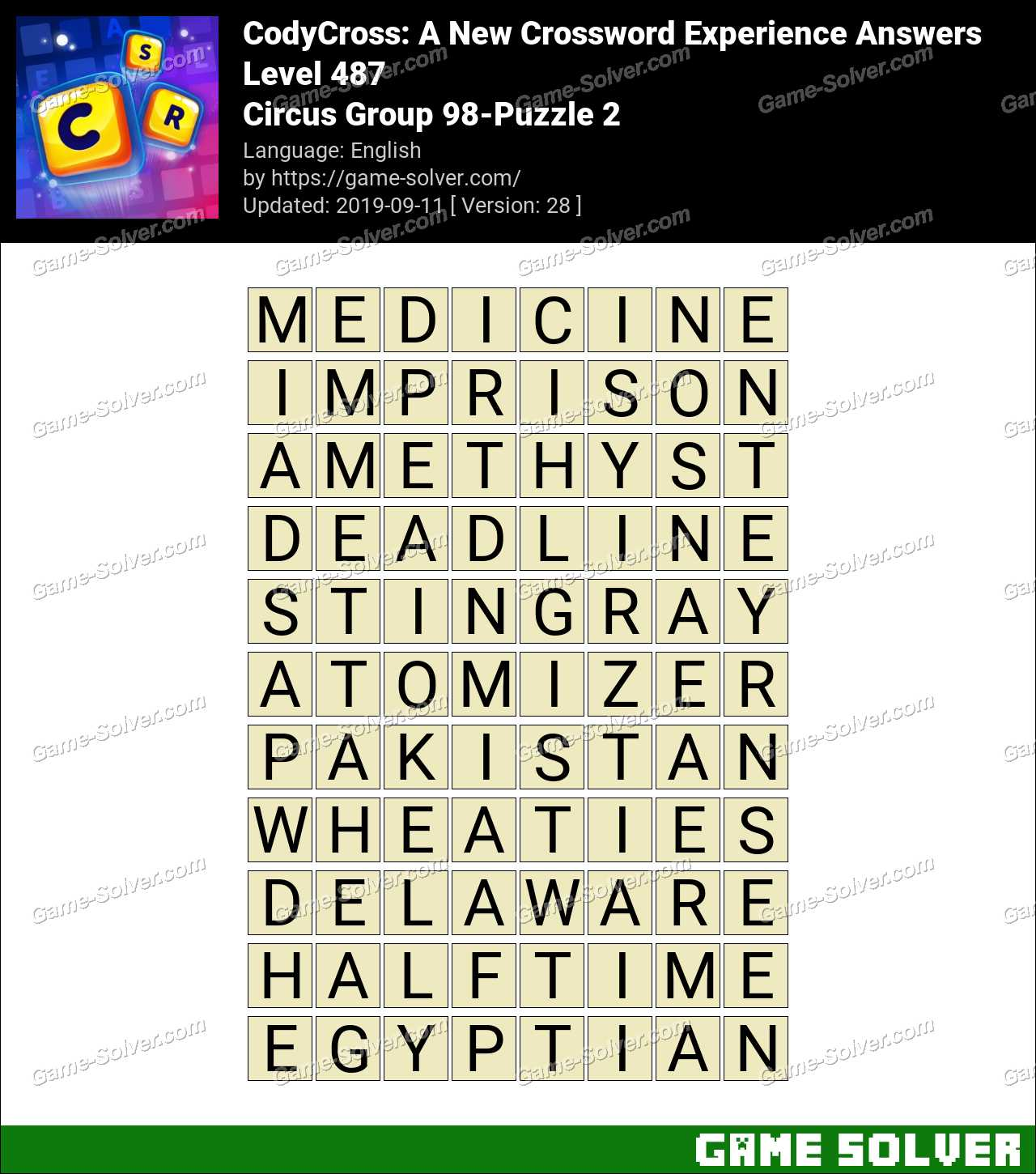 CodyCross Circus Group 98-Puzzle 2 Answers
