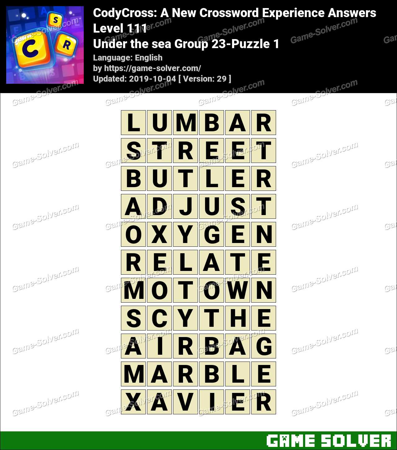 CodyCross Under the sea Group 23-Puzzle 1 Answers