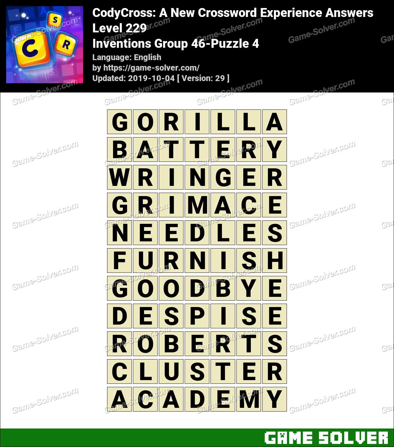 CodyCross Inventions Group 46-Puzzle 4 Answers