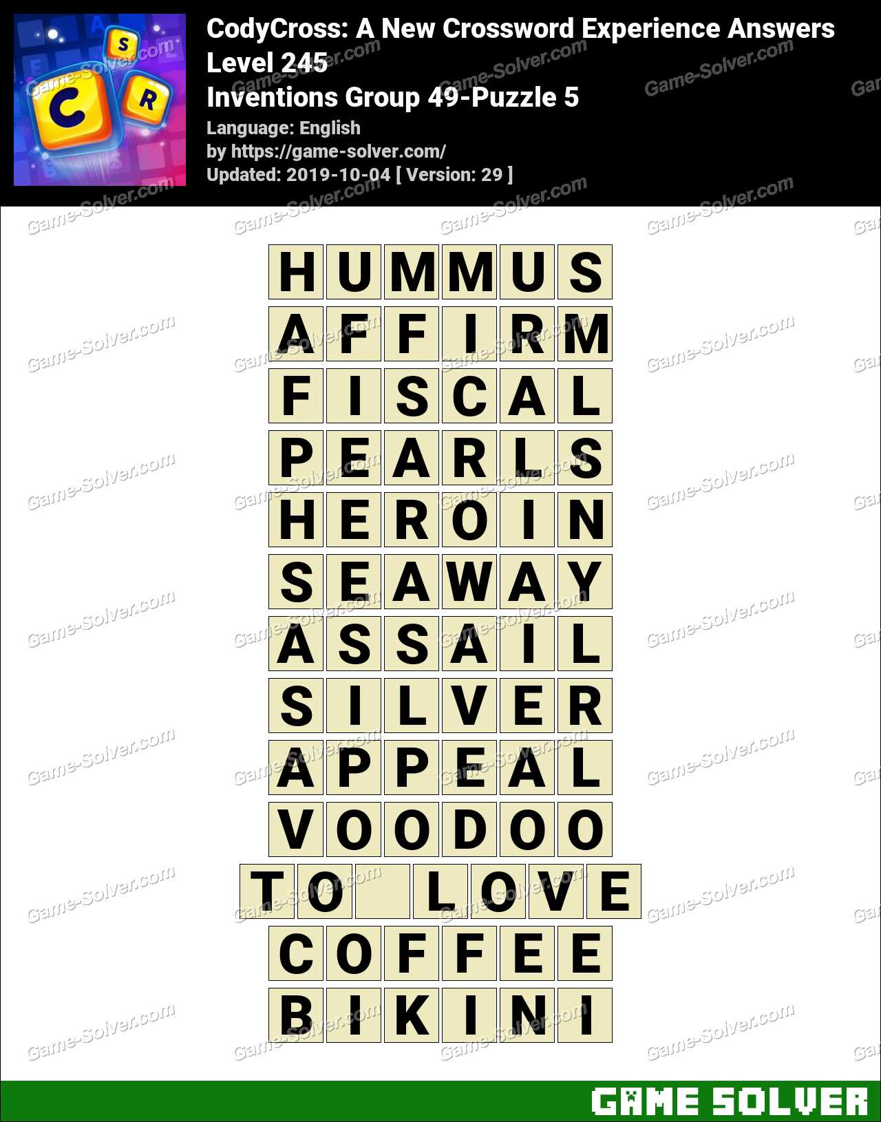 CodyCross Inventions Group 49-Puzzle 5 Answers