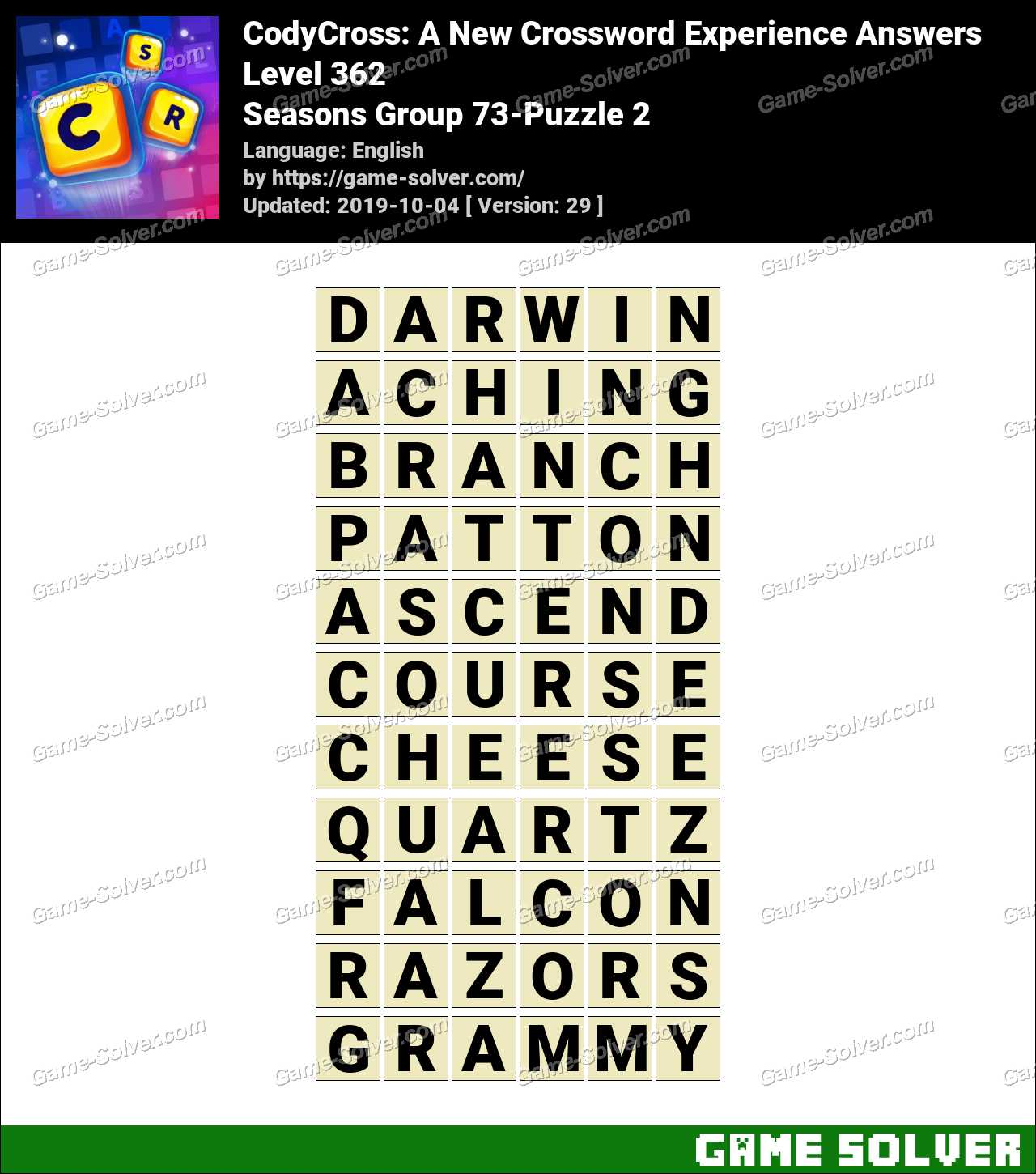 CodyCross Seasons Group 73-Puzzle 2 Answers