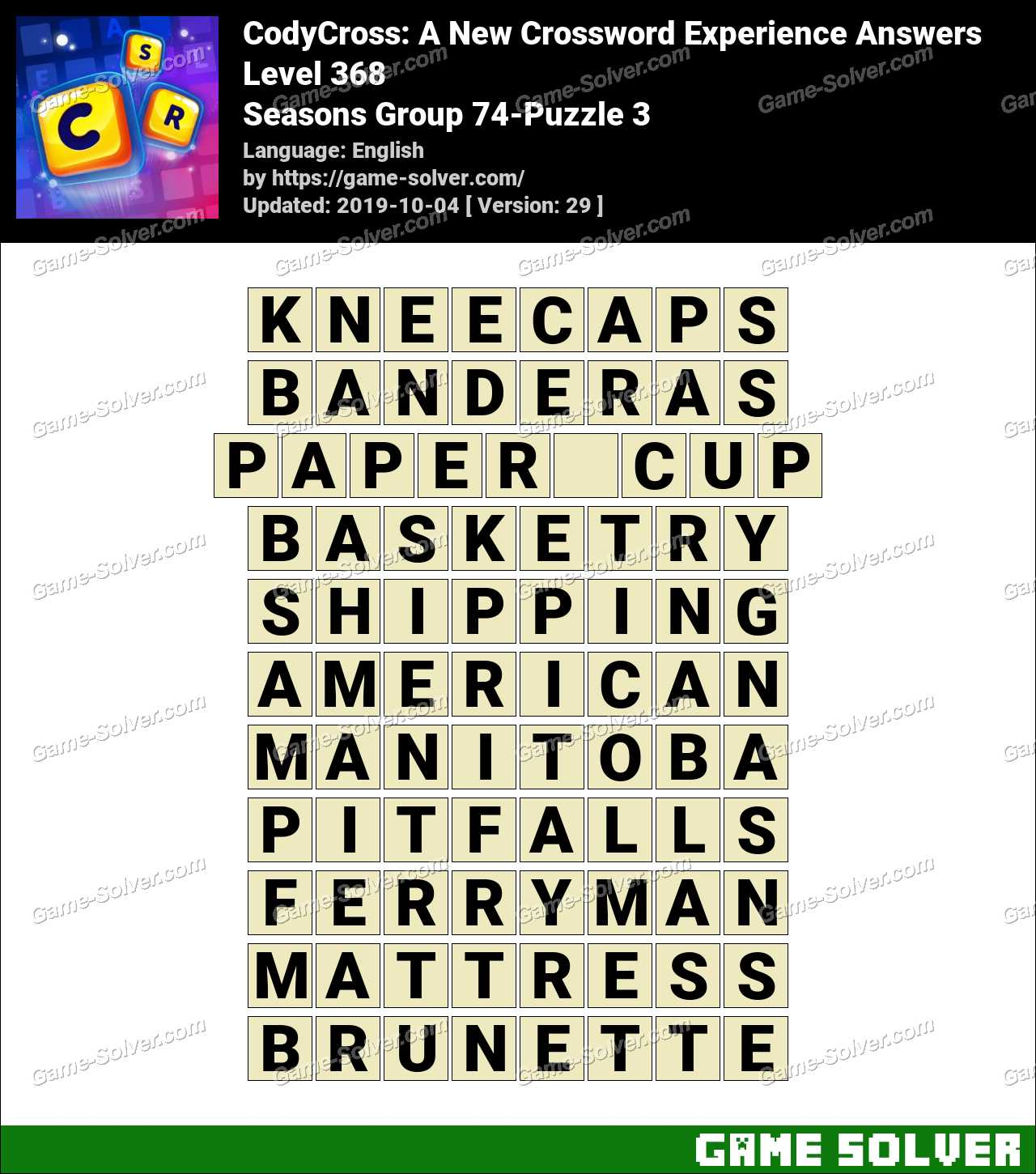 CodyCross Seasons Group 74-Puzzle 3 Answers
