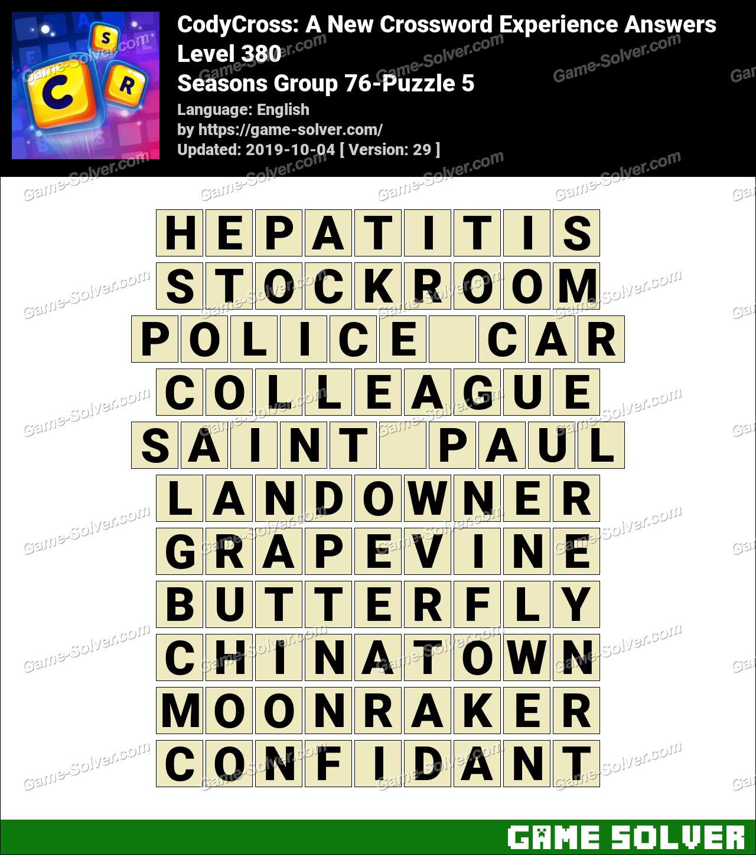 CodyCross Seasons Group 76-Puzzle 5 Answers