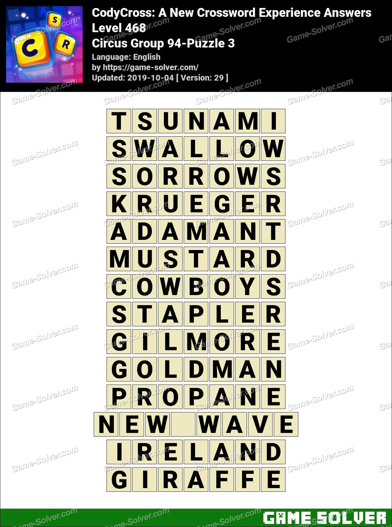 CodyCross Circus Group 94-Puzzle 3 Answers