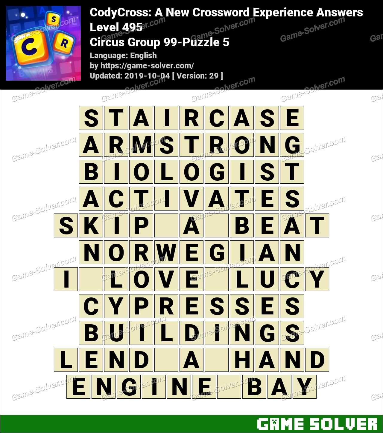CodyCross Circus Group 99-Puzzle 5 Answers