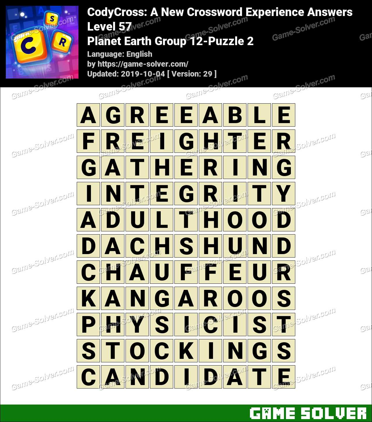 CodyCross Planet Earth Group 12-Puzzle 2 Answers